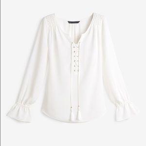 NWT WHBM Kala lace up blouse- see photos